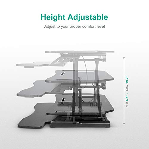 EleTab Height Adjustable Standing Desk Sit to Stand Gas Spring Riser Converter 37'' Tabletop Workstation fits Dual Monitor by EleTab (Image #2)