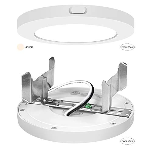 - AVANLO Super Slim 0.5 Inch Thickness 5 Inch LED Ceiling Light Fixture, 120V 4000K 360lm 6W(40W Equivalent), Dimmable, Round, for 4'' Junction Box, 4'' Housing & Surface Mount. 1 Pack
