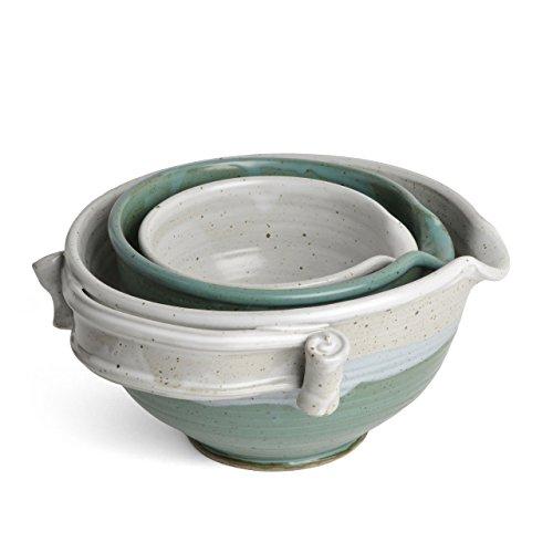 Bargain Anthony Stoneware 3-piece Nesting Mixing Bowl Set, Teal online