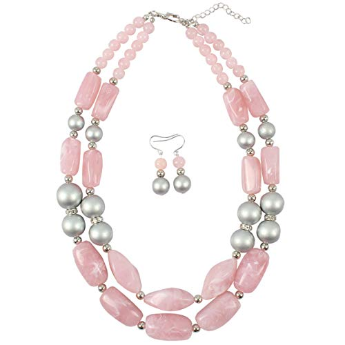HaHaGirl Pink Beads 2 Layer Statement Chunky Beaded Fashion Necklace for Women