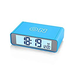 FAMICOZY Flip Alarm Clock for Boys, Travel Alarm Clock,Turn Alarm On/Off by Flip,Repeating Snooze,Soft Sensor Nightlight,12/24h Display,Blue