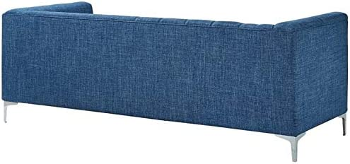 Amazon.com: Posh Living Thomas Navy Blue Linen Sofa - Metal ...
