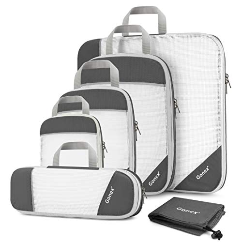 Gonex Compression Packing Cubes Mesh Organizers L+M+S+XS+Slim+Laundry Bag Gray