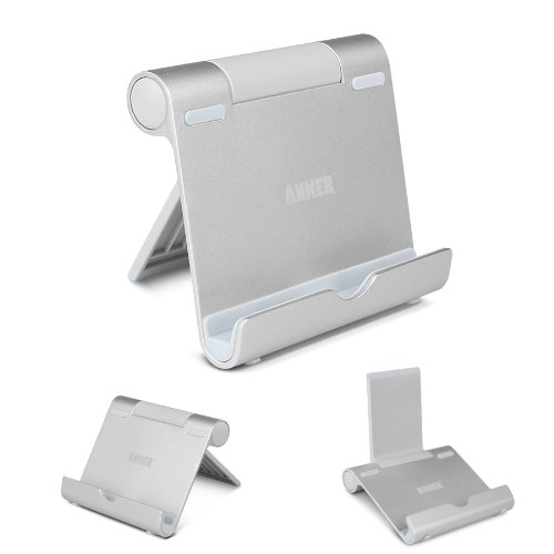 Anker Multi-Angle Aluminum Stand for Tablets e-readers and Smartphones Compatible with iPhone iPad Samsung Galaxy  Tab Google Nexus HTC LG Nokia Lumia OnePlus and More (Silver)
