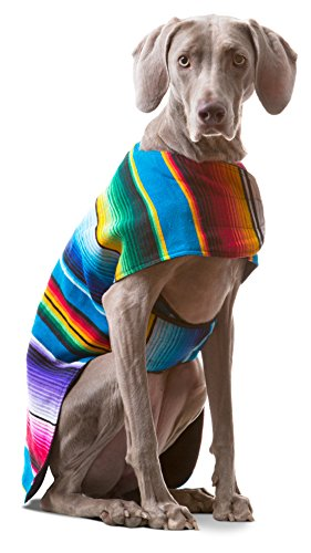 Baja Ponchos Dog Clothes - Handmade Dog Poncho from Authentic Mexican Blanket (No Fringe, X-Large) ()