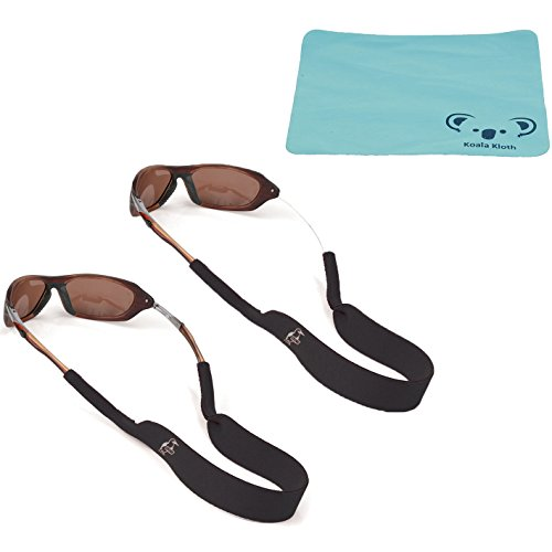 Chums Neoprene Classic Eyewear Retainer, Sunglass Strap, & Sunglasses Band | 2pk Bundle + Cloth, - Sunglass Bands Neck