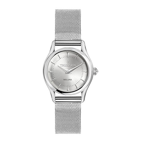 TRUSSARDI Women's T-Light Analog-Quartz Stainless-Steel Strap, Silver, 16 Casual Watch (Model: R2453127505) ()