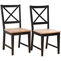 Target Marketing Systems Set of 2 20-Inch Virginia Cross Back Chairs, Set of 2, Black/Natural