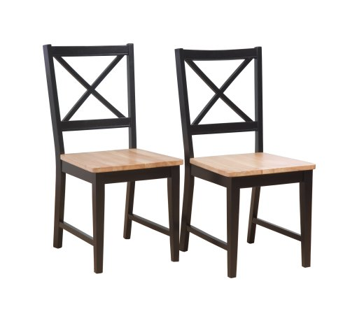Target Marketing Systems Set of 2 20-Inch Virginia Cross Back Chairs, Set of 2, Black/Natural (Pottery Barn Chairs Living Room)