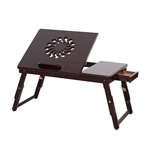 Bamboo Lap Desk Stand Foldable Breakfast Serving Bed Tray Table Drawer for Bed Sofa Couch Laptops Reading Studying Eating Tray with Tilting Top Drawer ()