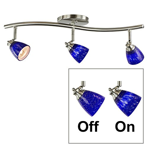 Direct-Lighting 3 Lights Adjustable Track Lighting Kit - Brushed Steel Finish - Blue Glass Track Heads - GU10 Bulbs Included. (Adjustable Track Head Fixture)