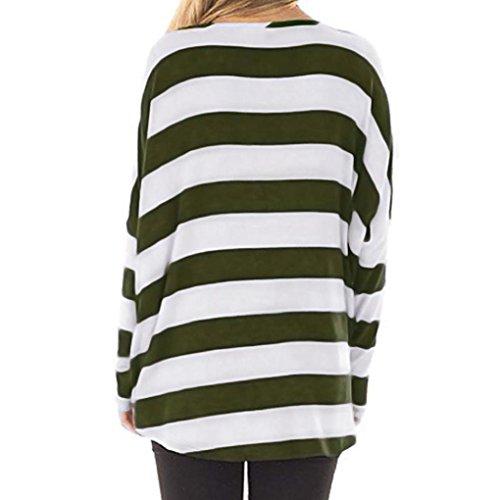 s Pullover donna Manica Verde Camicette Autunno Abcone Casual collo A Camicie Maniche Felpa Righe T Pipistrello xl Tops Elegante O shirt Lunghe 5Eqwx1Xxdn