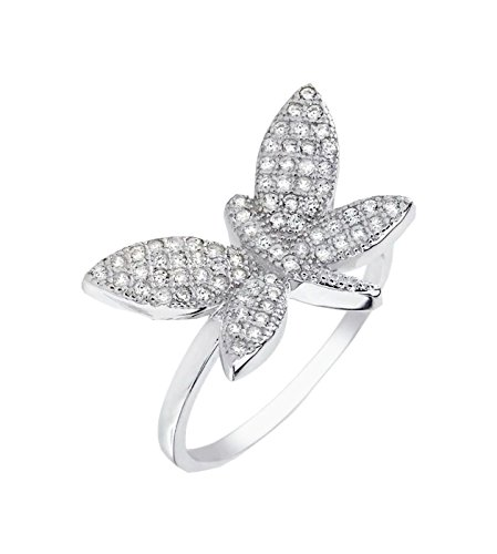 Butterfly ring designer 12.5mm Wide Brilliant cut 925 Silver Brilliant Cut Butterfly Ring