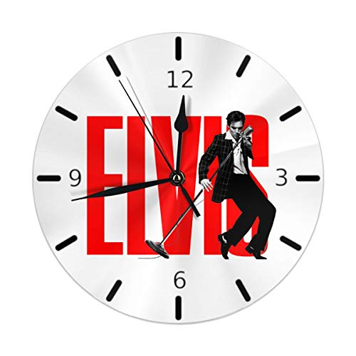 Flypo-yoc Elvis Presley 10 Inch Non Ticking Silent Wall Clock Decorative Battery Operated Quiet Wall Clock for Living Room Kitchen Bedroom
