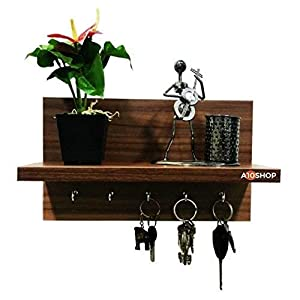 A10SHOP Omega 6 Engineered Wood Key Holder with Wall Decor Shelf, 5 Key Hooks – Walnut