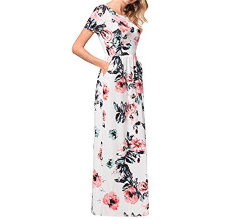 Short Sleeve Women Crossover Printed Wrap Bohemian Bodice Summer White Casual s Dress Maxi x8qfrRw80