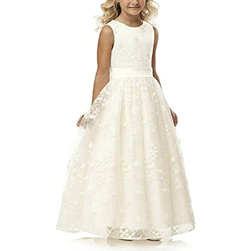 A line Wedding Pageant Lace Flower Girl Dress with Belt 2-12 Year Old (Size 8, Ivory)