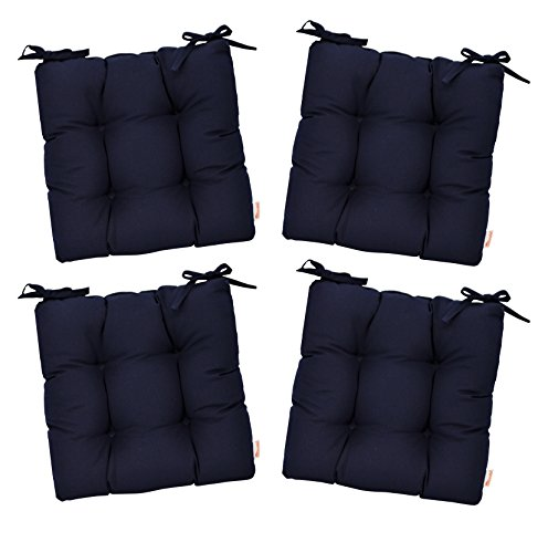 """- RSH Décor Set of 4 - Indoor/Outdoor Sunbrella Canvas Navy Blue Tufted Seat Cushions with Ties for Dining/Patio Chairs (16"""" x 16"""")"""