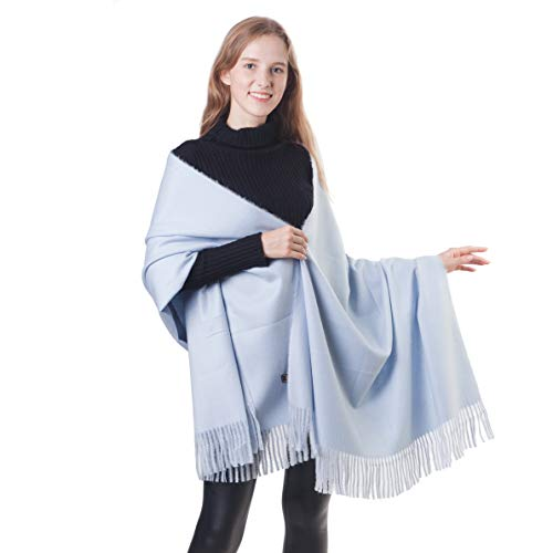 Soft Cashmere Scarf Long Pashminas Shawl Wraps Cozy Warm Stole Blanket Cape for Women Lady (1-Light Blue)