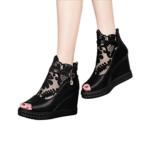 Spring and Summer Elegant Fish Mouth High Heels Sexy Sandals Black Slipsole Ladies Shoes (Color : Black, Size : 36)