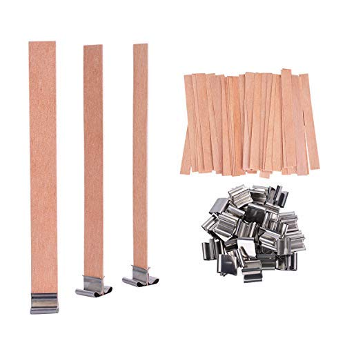 YoungRich 100 PCS Wood Candle Wicks with Iron Stand Candle Cores Natural Environmental-Friendly Wick for Candle Making and Candle DIY Craft 13x1.3cm / 5.1x0.5inch ()