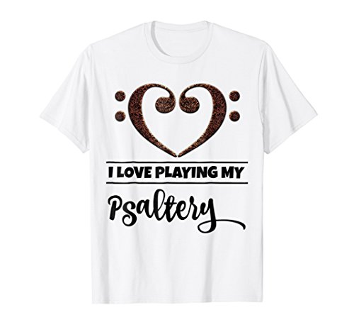 Double Bass Clef Heart I Love Playing My Psaltery T-Shirt