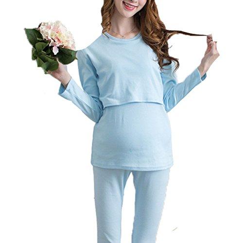 Laixing Maternity Fashion Long Sleeve Pajamas Set Top and Pants La mujer embarazada Sleepwear Blue