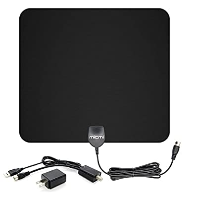 TV Antenna, 50 Miles Range 1080P Detachable Amplifier USB Power UL listed Supply Amplified HDTV Antenna 10ft Coax Cable Indoor Ultra Thin-Super Soft & Light MICMI M50