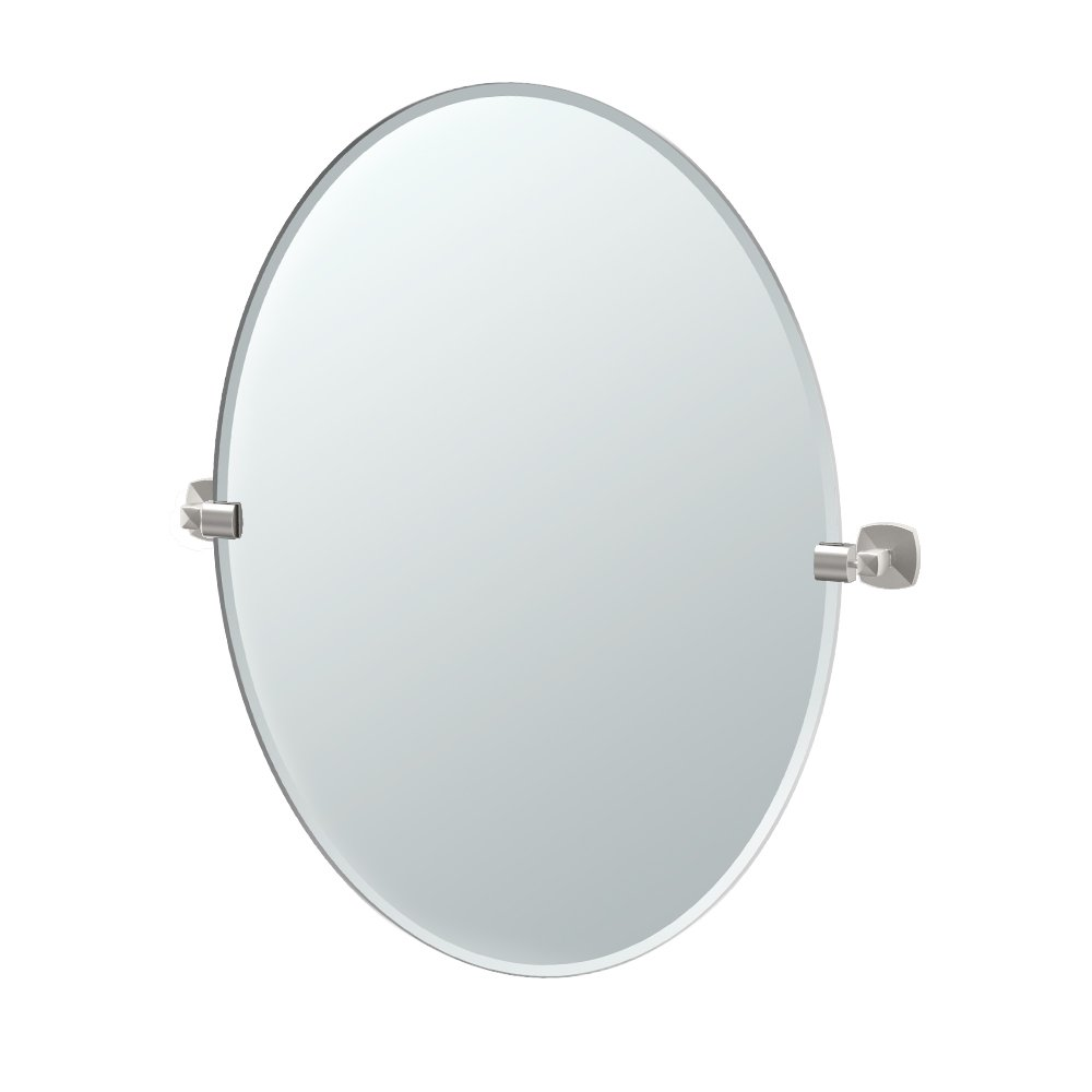 Gatco 4159LG Jewel Frameless Oval Mirror, Satin