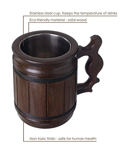 Handmade Beer Mug Oak Wood Stainless Steel Cup Box Gift Natural Eco-Friendly 0.3L 10oz Classic Brown