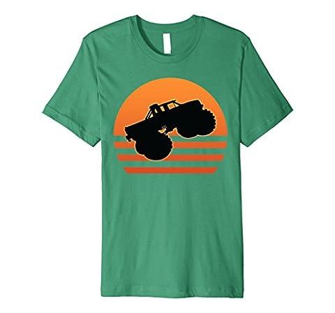 Mens Big size Cars Sunset Shirt for Monster Style Truck T-Shirt Medium Kelly Green - Monster Racing Jersey