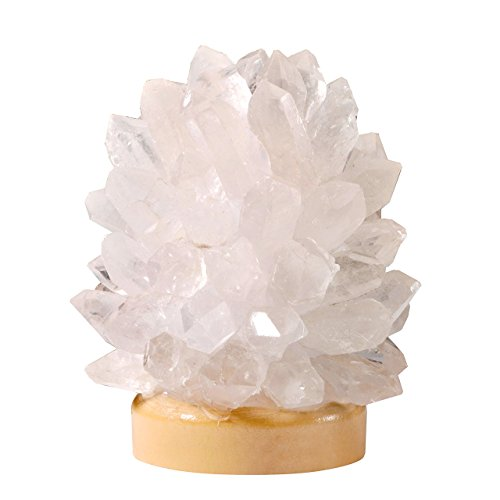 Jovivi Raw Natural Rough Quartz Cluster Druzy Crystal Points LED Light USB Lamp on Wood Base Decor