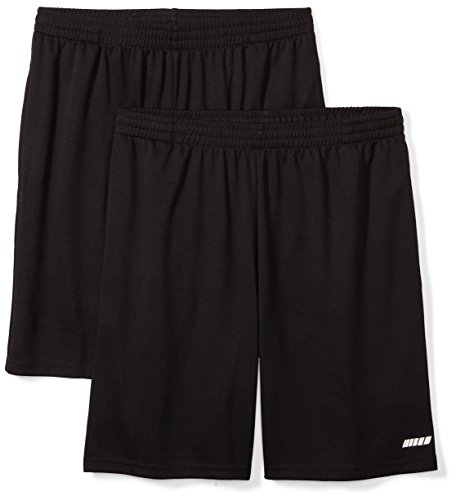 (Amazon Essentials Men's 2-Pack Loose-Fit Performance Shorts, Black/Black, Large)