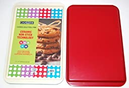 casaWare Ceramic Coated NonStick Cookie/Jelly Roll Pan (11 X 17-Inch, Cream/Red)