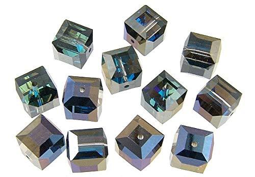 (2pcs - Swarovski Crystal Beads 5601 8mm Bermuda Blue Cube)