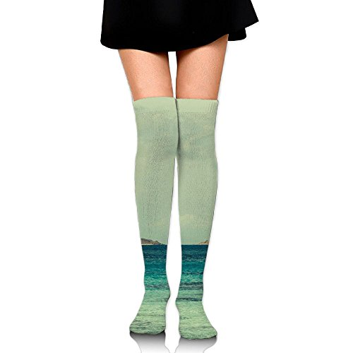 PengMin Boat Sea Wave Island Clouds Cotton Compression Socks For Women. Graduated Stockings For Nurses, Maternity, Travel, Flight,Varicose Veins,Running & Fitness, Calf Support.