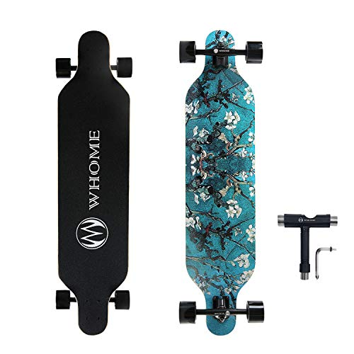 (WHOME Skateboard Complete for Adults and Beginners - 41 Inch Longboard for Hybrid Freestyle Carving Cruising 8 Layer Maple Top Mounted ABEC-9 Precision Bearings Smooth PU Wheels Includes T-Tools )
