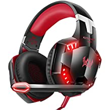 VersionTECH. G2000 Gaming Headset, Surround Stereo Gaming Headphones with Noise Cancelling Mic, LED Lights & Soft Memory Earmuffs, Works with Xbox One, PS4, Nintendo Switch, PC Mac Computer Games -Red