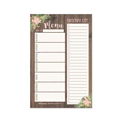 Rustic Floral Weekly Meal Planning Calendar Grocery Shopping List Magnet Pad for Fridge, Magnetic Family Pantry Food Menu Board Organizer, Week Diet Prep Planner, Refrigerator What Eat Dinner Notepad