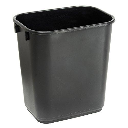 Continental 1358BK 13-5/8 Quart Commercial HDPE Trash Can, Rectangular, Black