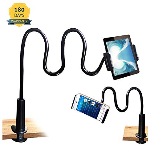Cellphone & Tablet 2 in 1 Stand Holder Clip with Grip Flexible Long Arm Gooseneck Bracket Mount Clamp Compatible with Pad/iPhone X/8/7/6/6s Plus Samsung S8/S7 Amazon Kindle Fire HD - Black