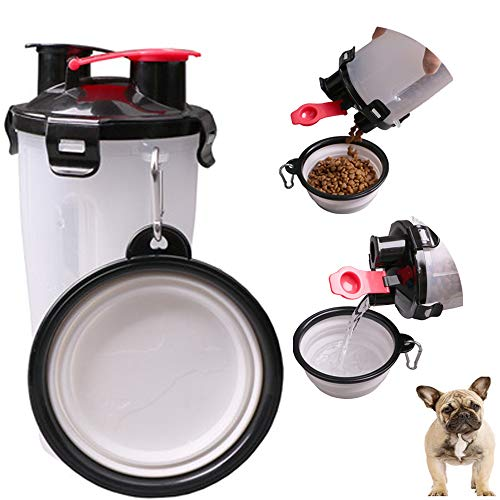 MineDecor Dog Food Container 2 in 1 Portable Pet Travel Mug Dog Food Dispenser Water Botter with Collapsible Bowl for…