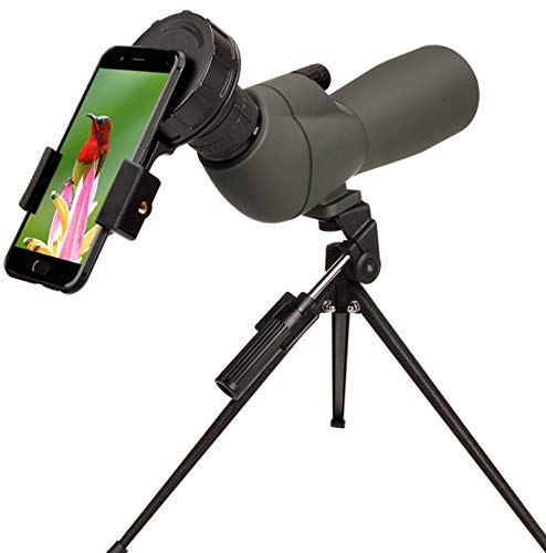 20-60x60 HD Spotting Scope BAK4 45 Degree Angled Eyepiece Telescope and 20x-60x Zoom Magnification for Target Shooting Hunting Bird Watching Wildlife Scenery with Tripod, Carrying Bag