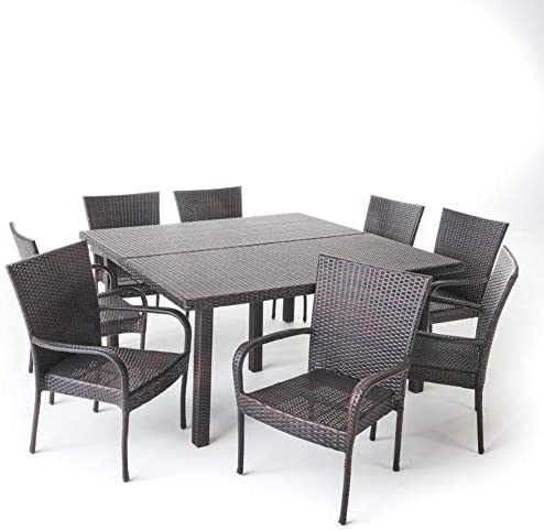 Christopher Knight Home Fiona Outdoor Stacking Wicker Square Dining Set