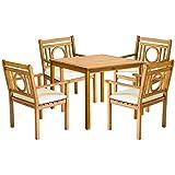 Safavieh Outdoor Living Collection Montclair 5-Piece Dining Set, Teak Brown