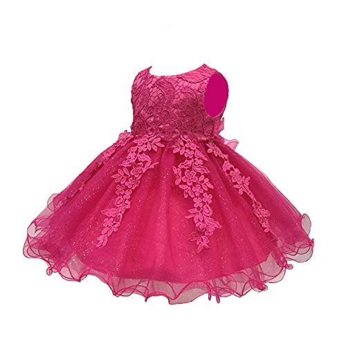 LZH Baby Girls Birthday Christening Dress Baptism Wedding Party Flower Dress (5801-Rose Red,6M)