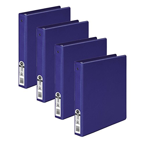 Wilson Jones 3 Ring Binder 1 Inch, Round Ring Binder, Basic, 368 Series, Dark Blue, 4 Pack (W70368-14NBLPP1) (Binder Series)