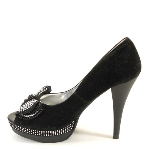 Brand New Lady Bows OpenToe Rhinestone High Stiletto Heels Platform SH1109 Black jzeBsiF7t