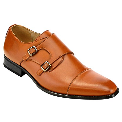 Beston EA28 Men's Double Monk Strap Slip On Dress Shoes, Color:BROWN, - Dress Shoes Monk Strap