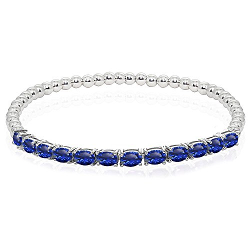 Sterling Silver Created Blue Sapphire Oval Beaded Stretch Tennis Style Bracelet